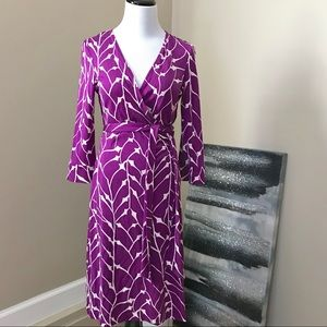 Diane Von Furstenberg Purple Silk Wrap Dress